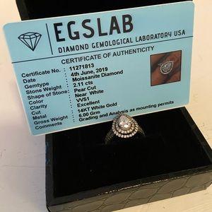 Pear Shape Double Halo Moissanite Ring